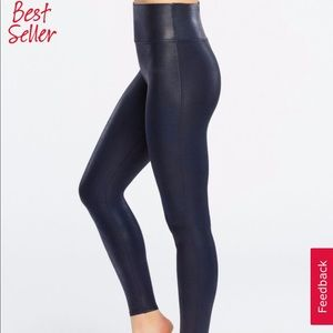 SPANX Navy Faux Leather Legging